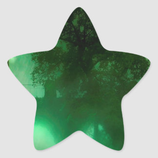 Abstract Fantasy Lime Dark House Star Sticker