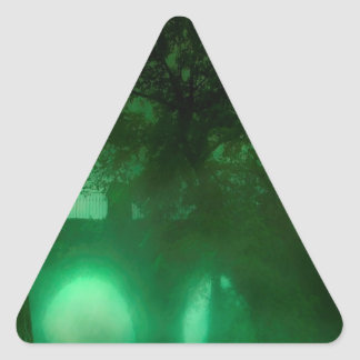 Abstract Fantasy Lime Dark House Triangle Sticker