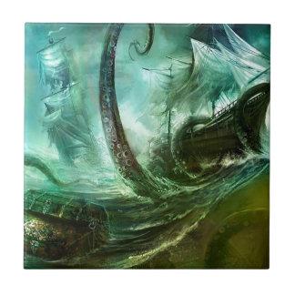 Abstract Fantasy Pirates Nightmare Treasure Ceramic Tile
