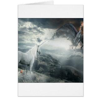 Abstract Fantasy Unicorns Light Vs Dark Greeting Card
