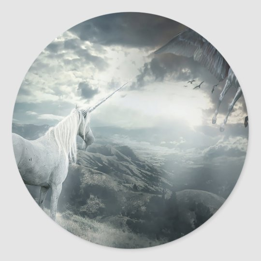 Abstract Fantasy Unicorns Light Vs Dark Classic Round Sticker
