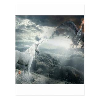 Abstract Fantasy Unicorns Light Vs Dark Postcard