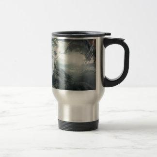 Abstract Fantasy Unicorns Light Vs Dark Travel Mug