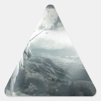 Abstract Fantasy Unicorns Light Vs Dark Triangle Sticker