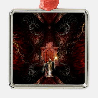 Abstract Fantasy Wizard Unleashed Metal Ornament