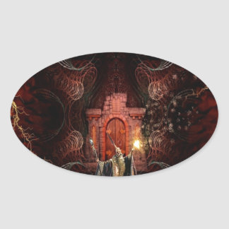 Abstract Fantasy Wizard Unleashed Oval Sticker