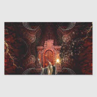 Abstract Fantasy Wizard Unleashed Rectangular Sticker