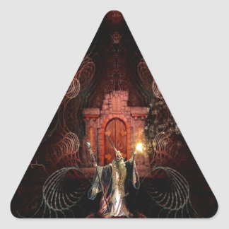Abstract Fantasy Wizard Unleashed Triangle Sticker
