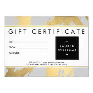 Abstract Faux Gold Brushstrokes on Gray Gift Card