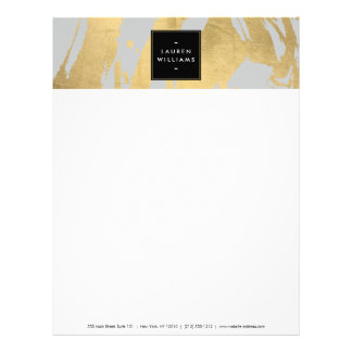 Abstract Faux Gold Brushstrokes on Gray Letterhead