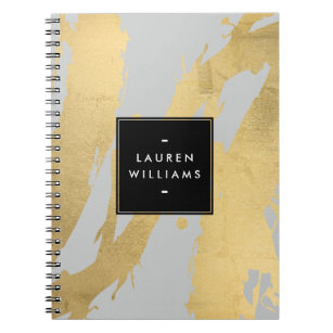 Lovely Abstract Faux Gold Brushstrokes On Gray Notebook