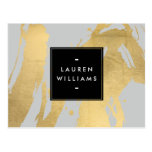 Abstract Faux Gold Brushstrokes on Gray Postcard