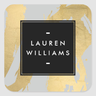 Abstract Faux Gold Brushstrokes on Gray Square Sticker