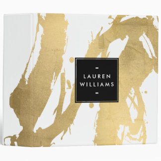 Abstract Faux Gold Brushstrokes on White Binder