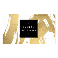 Abstract Faux Gold Brushstrokes on White Business Card