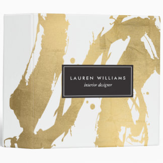 Abstract Faux Gold Brushstrokes on White II 3 Ring Binder
