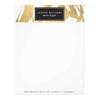 Abstract Faux Gold Brushstrokes On White Ii Letterhead at Zazzle