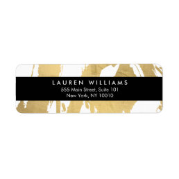 Abstract Faux Gold Brushstrokes on White Label