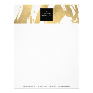 Abstract Faux Gold Brushstrokes on White Letterhead