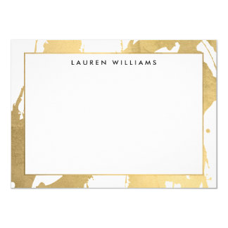 Abstract Faux Gold Brushstrokes on White Note Card