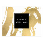 Abstract Faux Gold Brushstrokes on White Postcard