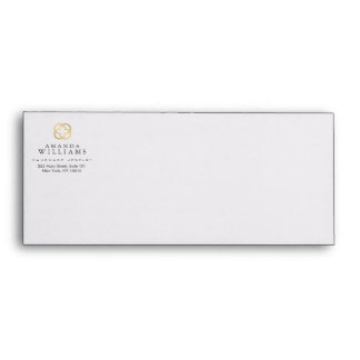 Abstract Faux Gold Clover Logo Jewelry Designer Envelope