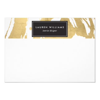Abstract Faux Gold Foil Brushstrokes Flat Notecard