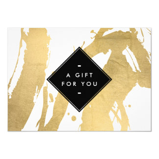 Abstract Faux Gold Foil Brushstrokes Gift Card