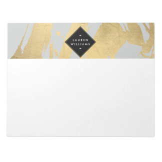 Abstract Faux Gold Foil Brushstrokes on Gray Note Pad