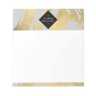 Abstract Faux Gold Foil Brushstrokes on Gray Notepad
