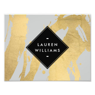 Abstract Faux Gold Foil Brushstrokes on Gray Photo Print