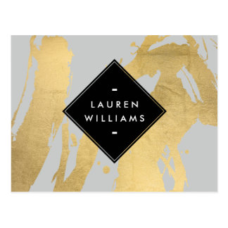 Abstract Faux Gold Foil Brushstrokes on Gray Postcard