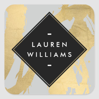 Abstract Faux Gold Foil Brushstrokes on Gray Square Sticker