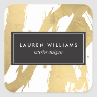 Abstract Faux Gold Foil Brushstrokes on White II Square Sticker