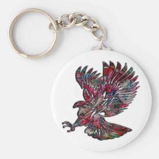 Abstract Faux Metallic Tribal Eagle Keychain