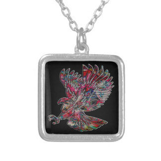 Abstract Faux Metallic Tribal Eagle Silver Plated Necklace