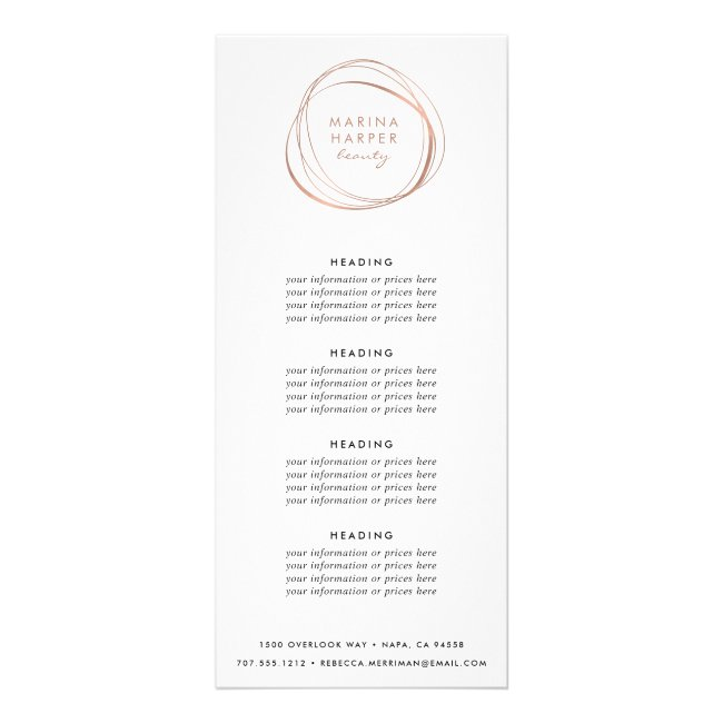 Abstract Faux Rose Gold   Pricing or Services Rack Card