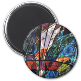 Abstract faux stained glass magnet