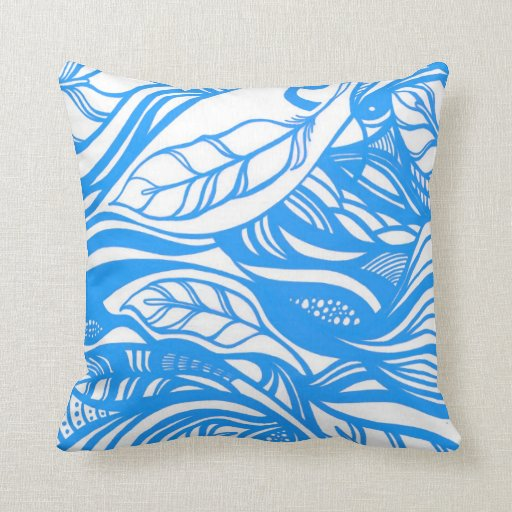 Throw Pillows With Feather Design : Abstract feather design (blue) throw pillow Zazzle