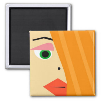 Abstract female face magnet