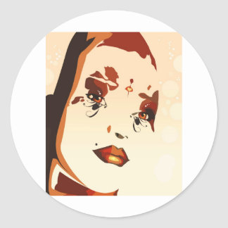 Abstract Female Lady Classic Round Sticker