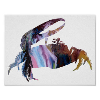 Abstract Fiddler Crab silhouette Poster