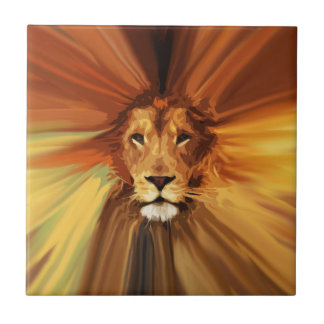 Abstract Fierce Lion Ceramic Tile