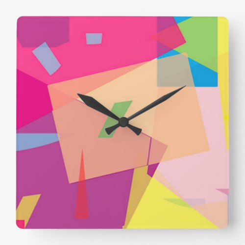 Colorful Abstract Fiesta Square Wall Clock - A bright alternative wall clock