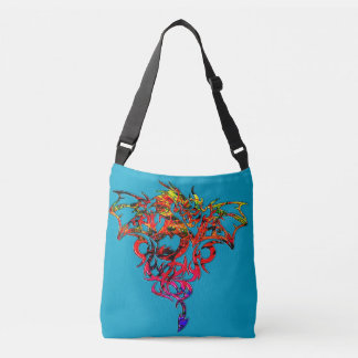 Abstract Fire Breathing Tribal Dragon Crossbody Bag