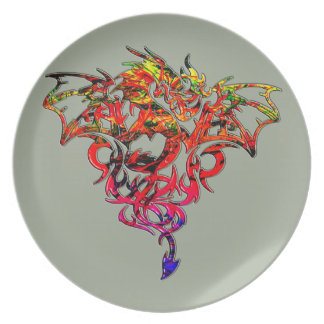 Abstract Fire Breathing Tribal Dragon Dinner Plate
