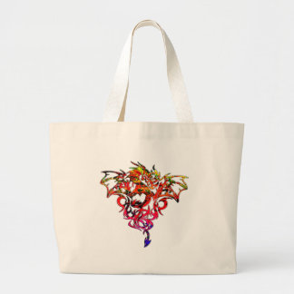 Abstract Fire Breathing Tribal Dragon Large Tote Bag