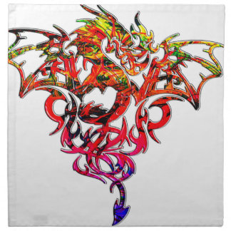 Abstract Fire Breathing Tribal Dragon Napkin