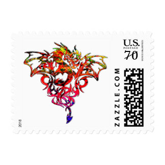 Abstract Fire Breathing Tribal Dragon Postage