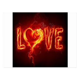 Abstract Fire Love Heart Postcard